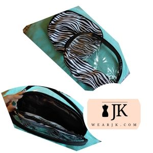 Double Accessory Bag 2-in-1 Zebra & Clear Zippered